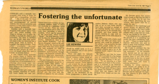 Newspaper clipping about the fostering scheme.