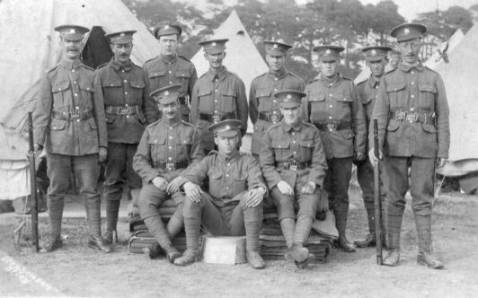 Unknown group of Cambridgeshire Regiment Soldiers during World War 1