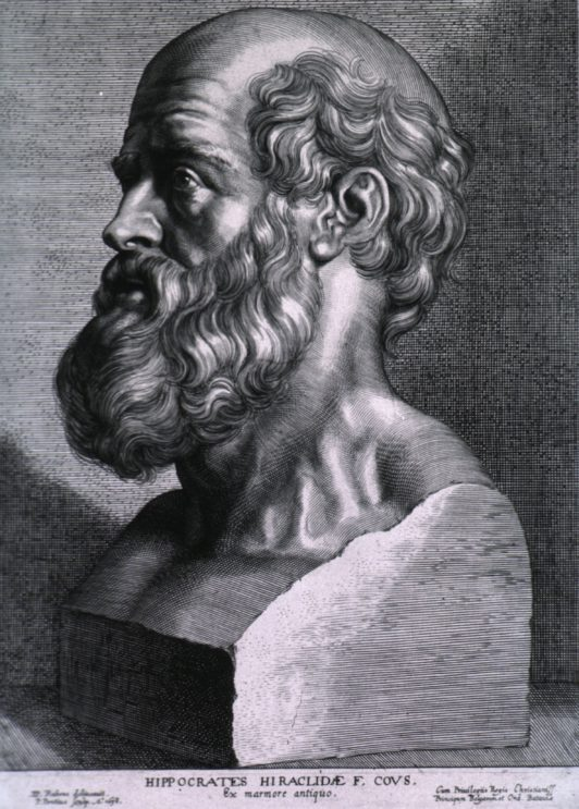 An engraving of Hippocrates.