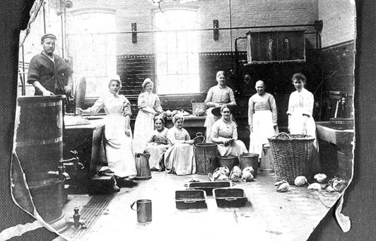 Patients in the kitchen at Fulbourn Hospital.