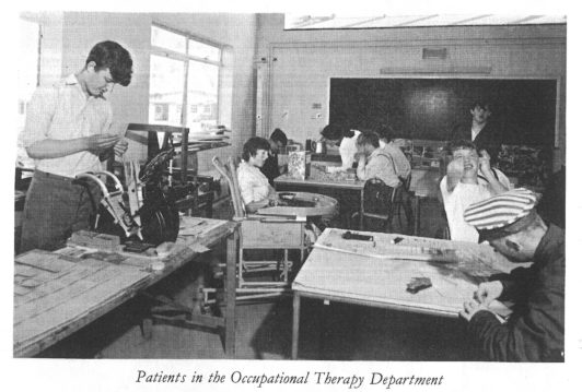 Patients in the occupational therapy department in the Ida Darwin Hospital.